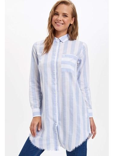 DeFacto Çizgili Gömlek Tunik Mavi